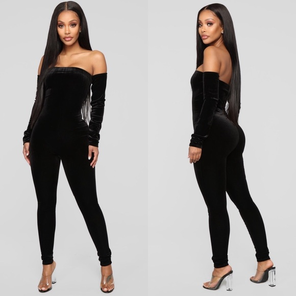 Fashion Nova Pants Velvet Off The Shoulder Jumpsuit Poshmark